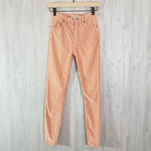 Free People Dusty Rose Corduroy Skinny Pants 24